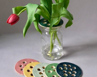 Vintage Handmade Aqua Pottery Flower Frog for Flower Arranging