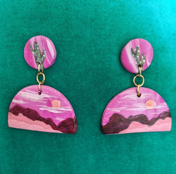 Purple Pink White Marbled  Polymer clay statement drop earrings  statement earrings  clay jewelry