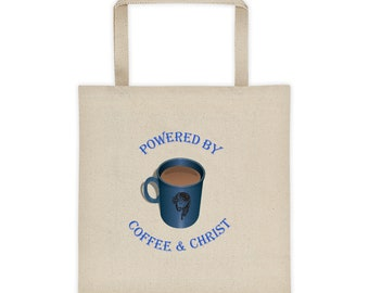 Women s 100% Cotton Canvas Tote Bag - Powered By Coffee And Christ bca5199d202ed