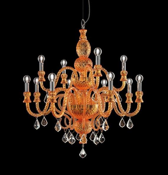 Orange Clear Murano Glass Chandelier, Orange Crystal Chandelier