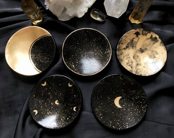 Celestial Clay Dishes, Moon Ring dish, Crystal dish, Jewelry Tray, Moon and Stars, Black Gold trinket dish bowl, Magical Witchy Gift
