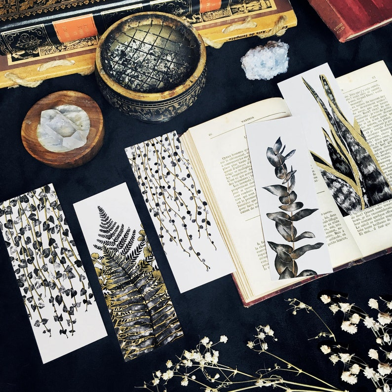 Botanical Bookmarks Set or Individual Black Gold Plants image 0