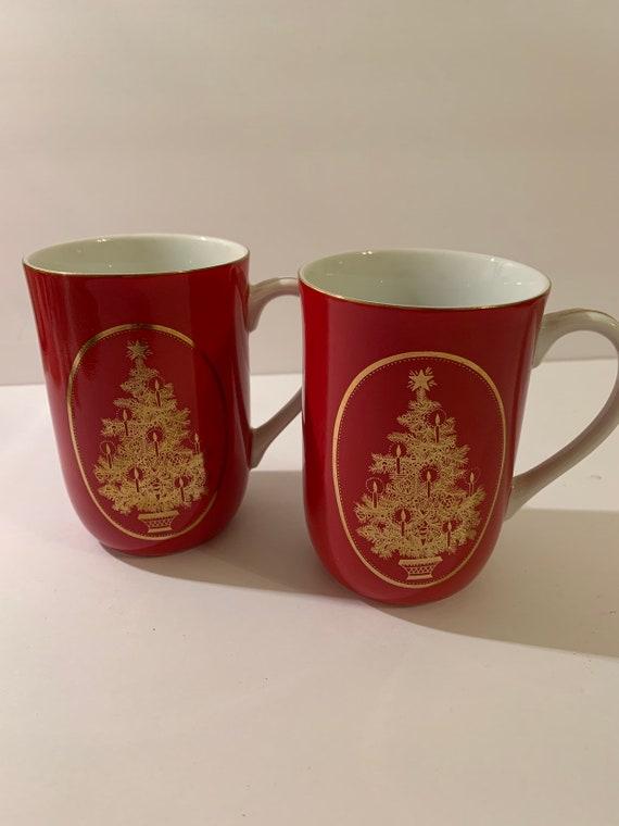 Vintage Otagiri Dark Red Set Of Christmas Coffee Cups Etsy