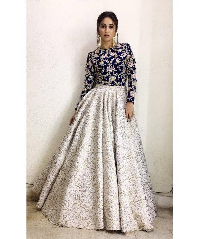 White silk Lehenga choli dupatta wedding wear party wear image 1