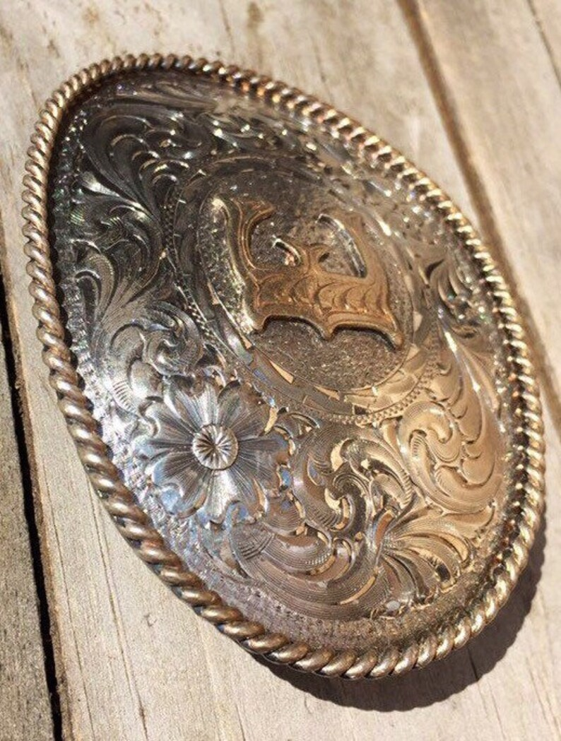Rodeo Buckle Cowboy Belt Trucker Belt Silversmith Belt Buckle Vintage 80s Western Buckle Silver and Gold Plated Buckle Biker Belt