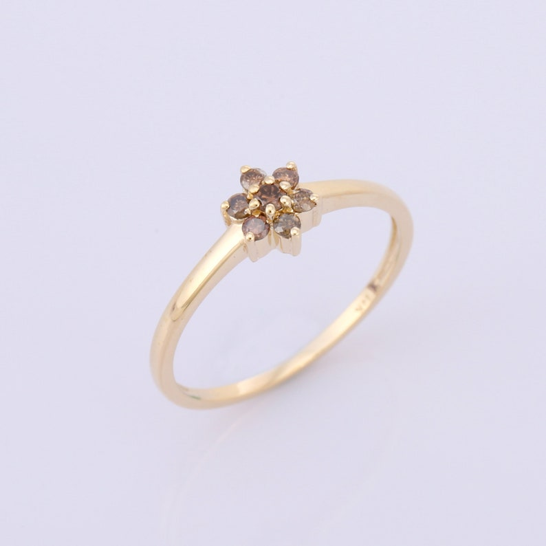 Special Jewelry For Gift 14K Yellow Gold Gemstone Ring Tiny Brown Diamond Gold Ring