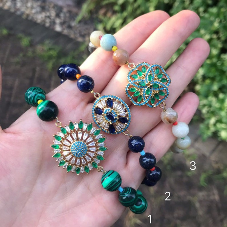 Colorful cubic zircon charms gemstone beads bracelet adjustable beaded bracelet