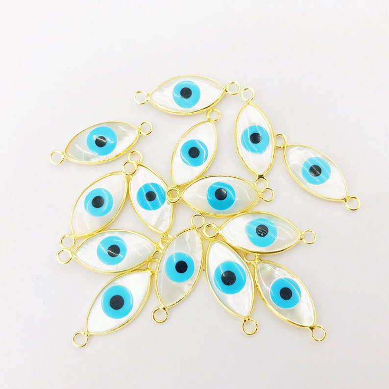 Gold bezel natural shell evils eyes connector charms for bracelet making sea   Shell horse eye shape charms