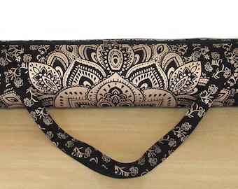 f86e8dfb1289e Hippie Mandala Gym Mat Carrier Sports Bags Indian Mandala Handmade Cotton  Black Gold Yoga Mat Bag Carry Beach Bags With Shoulder Strap