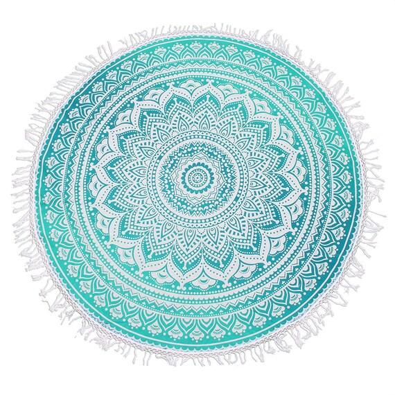 Round Indian Handmade Beach Yoga Mat Rug Hippy Hippie Mandala Round Table Cloth