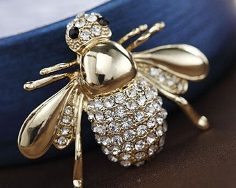 4381aa448cd Gold Silver rhinestone brooch bee Brooch Bumble red bee brooch bow brooch  DIY  supplies Men s Brooch   Women s Brooch YH