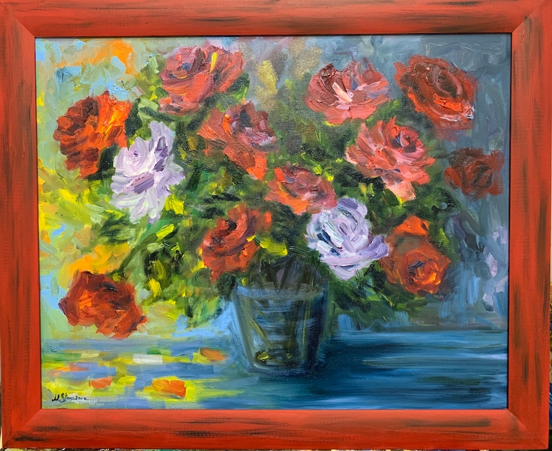 red flowers Red roses Original oil painting on canvas hand-painted wooden frame is a gift flowers in vase