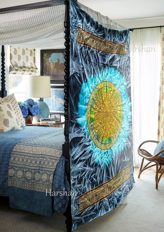 Blue Celtic Art Boho Queen Tapestry Wall Hanging Bedspread Blanket Throw Cotton
