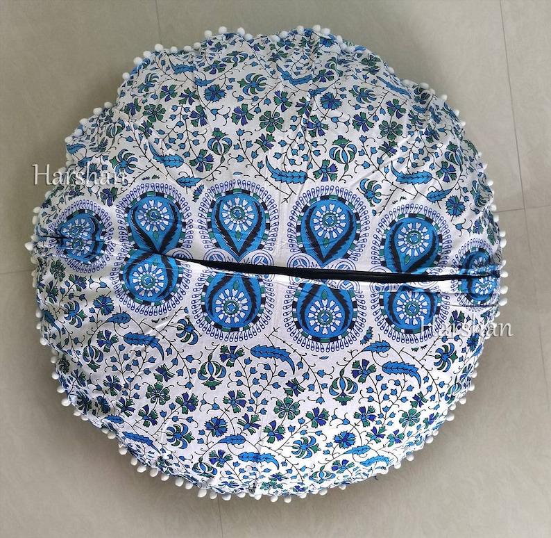 Boho Mandala Round Floor Cushion Cover Blue Ottoman Meditation Throw Pouf Pillow Covers Bohemian Dog Seating Pet Bedding 32