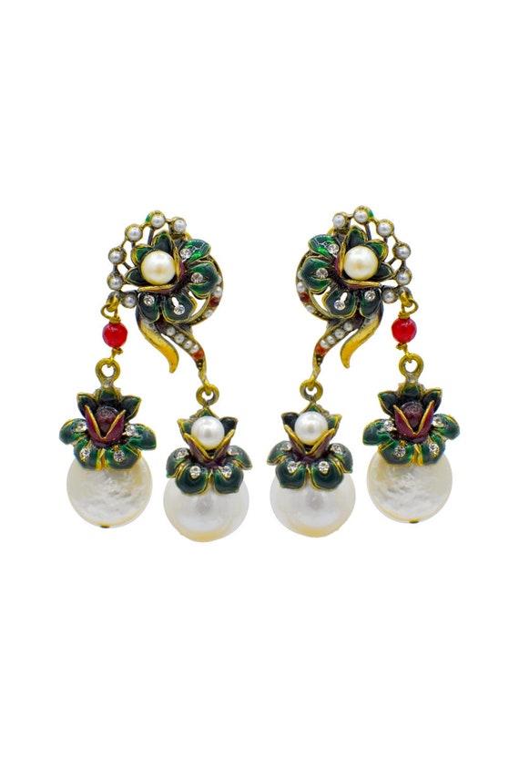 COIN PEARL EARRINGS, Vintage jewelry, 14K gold ear