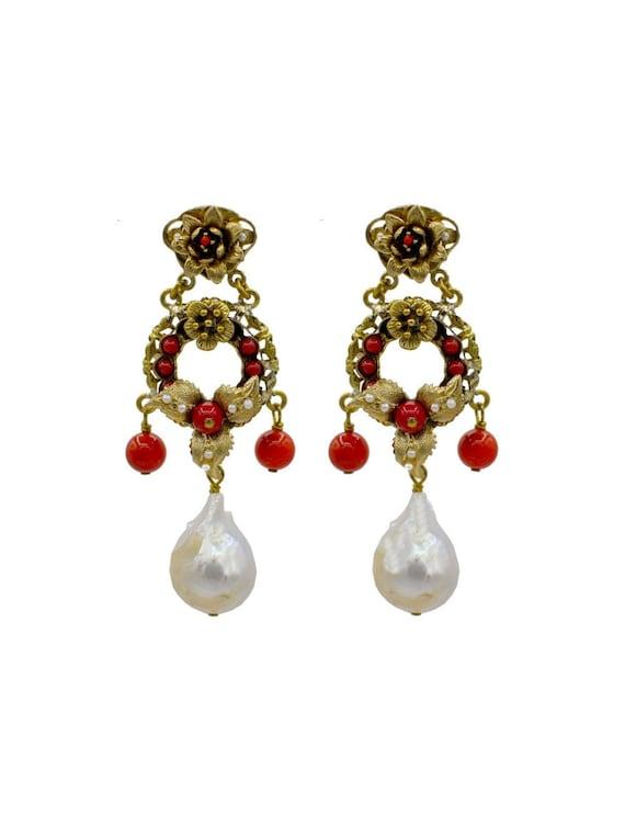 BAROQUE PEARL EARRINGS, Vintage jewelry, Pearl Sta