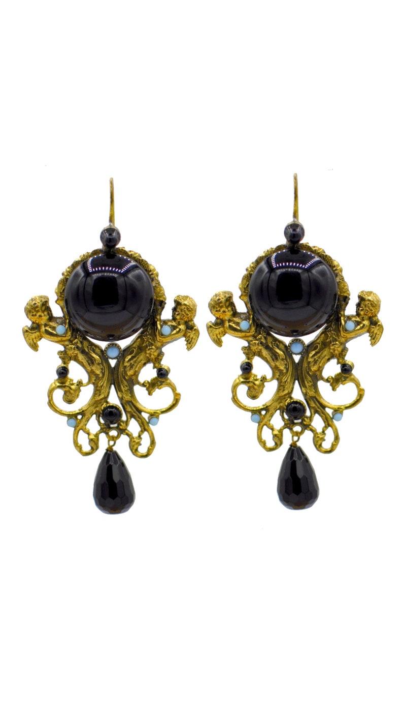 Bakelite Onyx Statement earrings black earrings Vintage jewelry Vintage earrings MERMAID EARRINGS