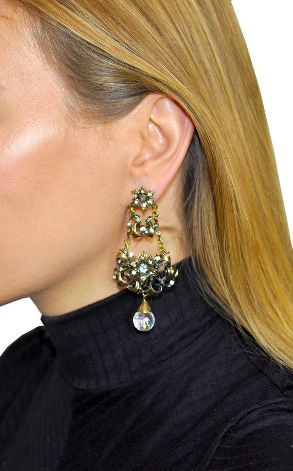 BEAD CHANDELIER Earrings, Vintage jewelry, Big ch… - image 2