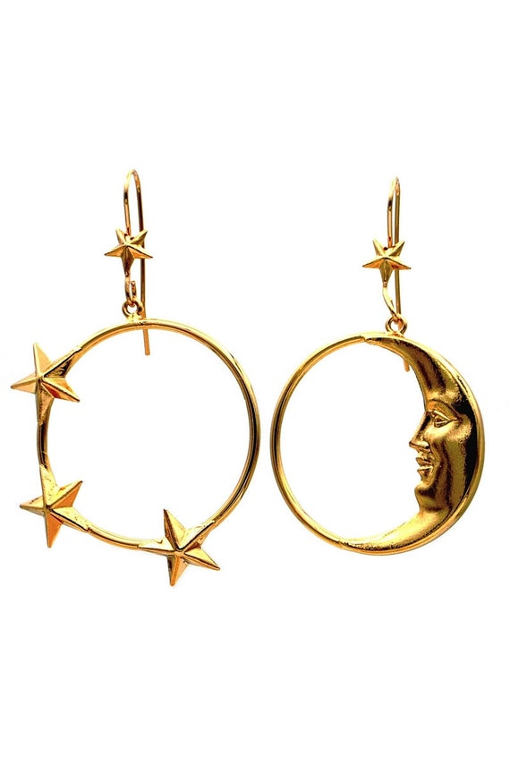 moon phase earrings gold hoop earrings - Mismatche