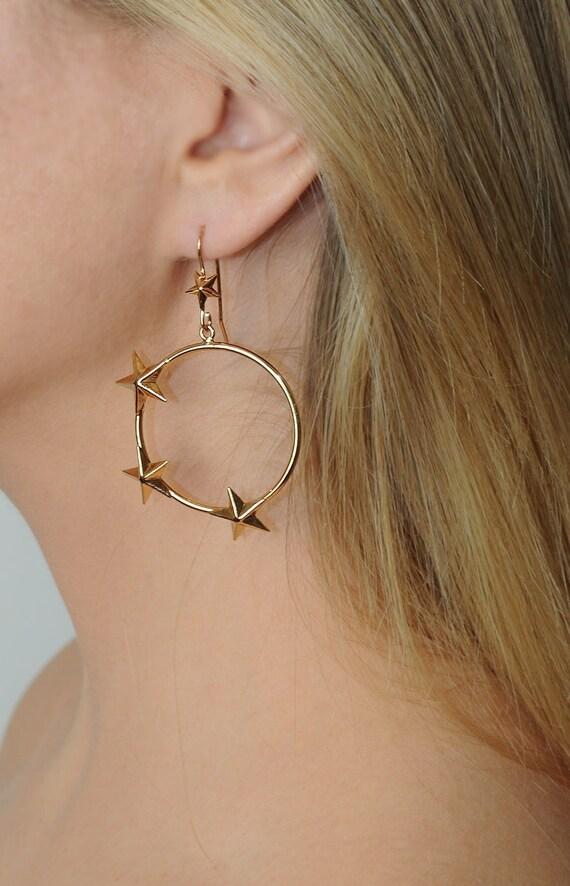 moon phase earrings gold hoop earrings - Mismatch… - image 3
