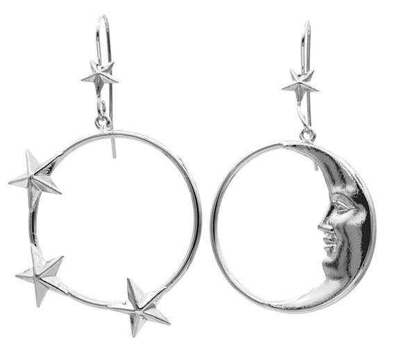 moon phase earrings hoop earrings - Mismatched ear