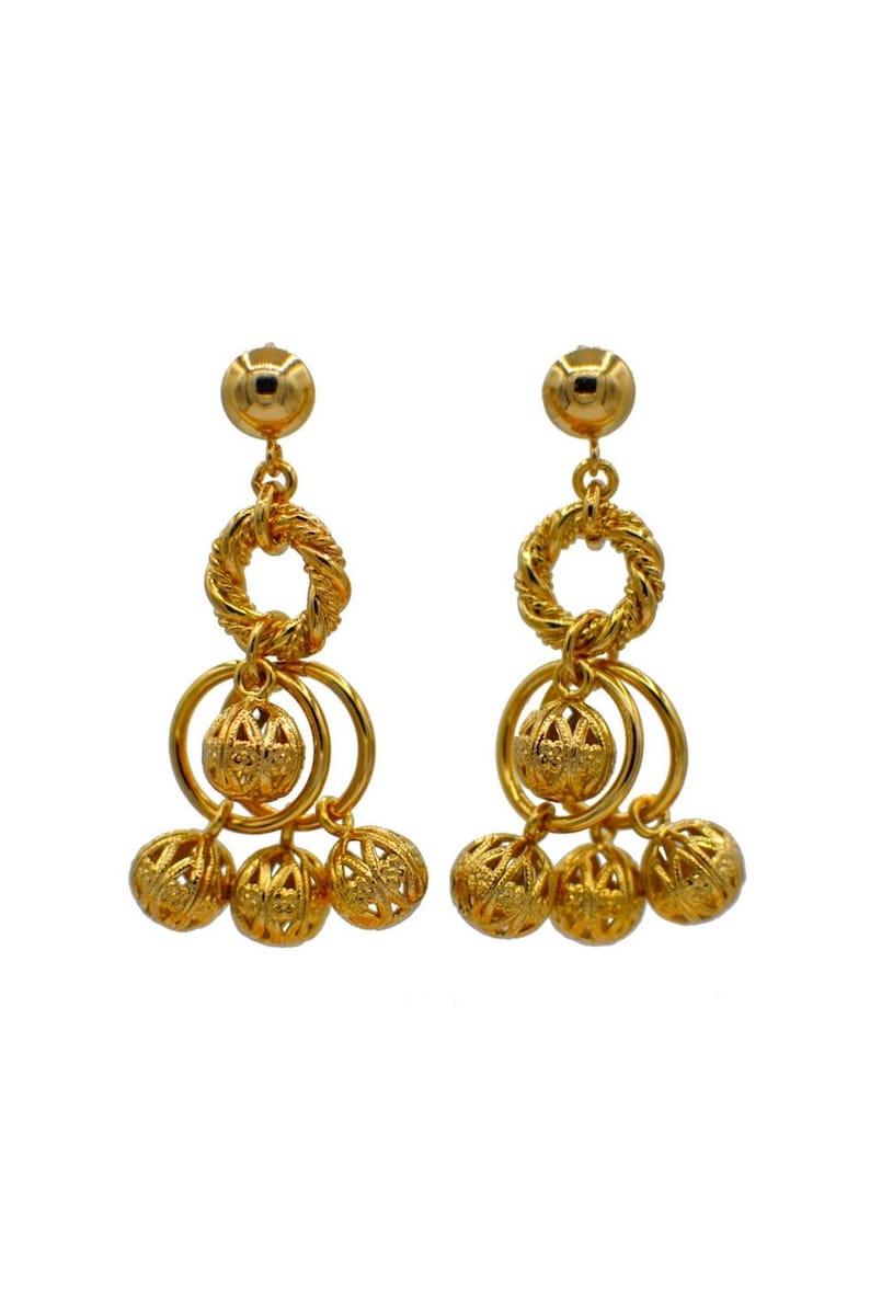pom pom earrings copper earring rose gold earrings statement earrings 14K gold earrings