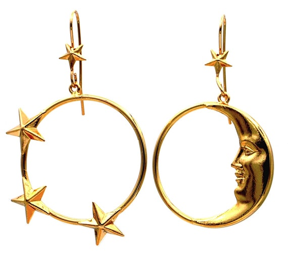 moon earrings gold hoop earrings - Mismatched earr