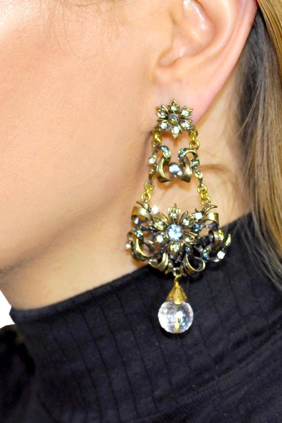 BEAD CHANDELIER Earrings, Vintage jewelry, Big ch… - image 4