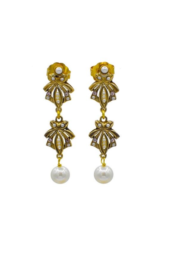 PEARL STATEMENT EARRINGS, Long bridal earrings, Vi