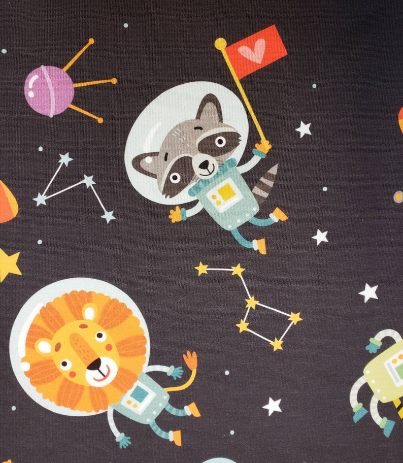 Cool French Terry Sweat Fabric Space Animals