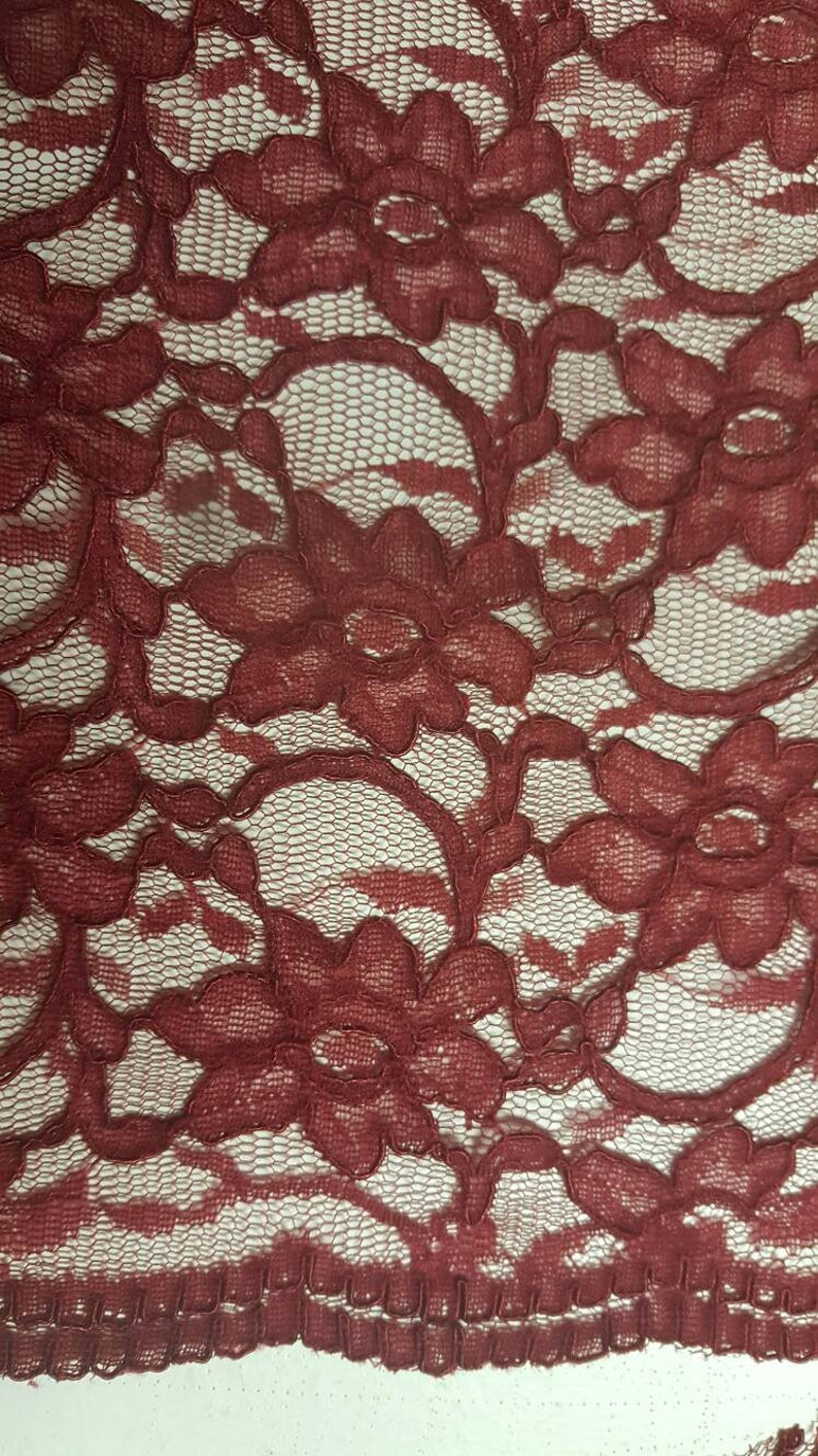 High quality lace in burgundy with bow edge wedding couture flowers