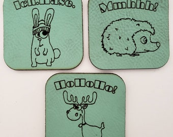 Faux Leather Label Patch Label Patch Patch Mint green Rabbit, Moose, Hedgehog