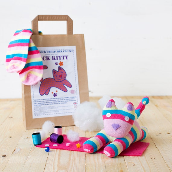 Creature, sewing, kids, child adult monkey Christmas gift! SOCK FOX CRAFT KIT.