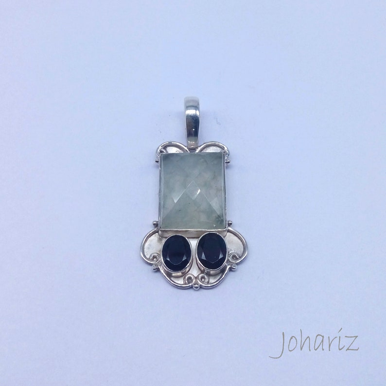 pendant jewelry gift for her Gemstone jewelry christmas day gift pendant jewelry Natural prehnite with garnet 925 sterling silver pendant