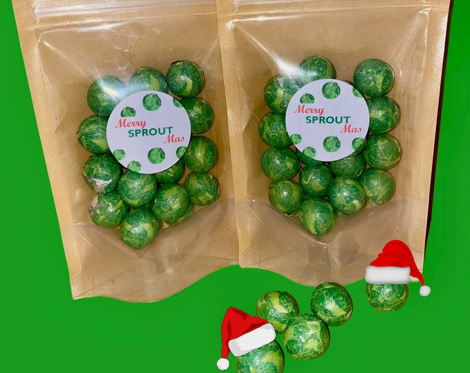 Christmas Chocolate Sprouts. 2 Kraft Packs Of Milk Chocolate Sprouts. 85g each. Merry SPROUT-Mas.
