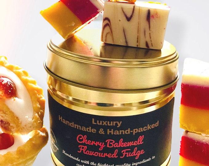 Cherry Bakewell Fudge Gift, Fudge Tin, Handmade Flavoured Fudge. Cherry Marzipan Fudge. Birthday Fudge Gift. Reusable Anniversary Gift Tin.