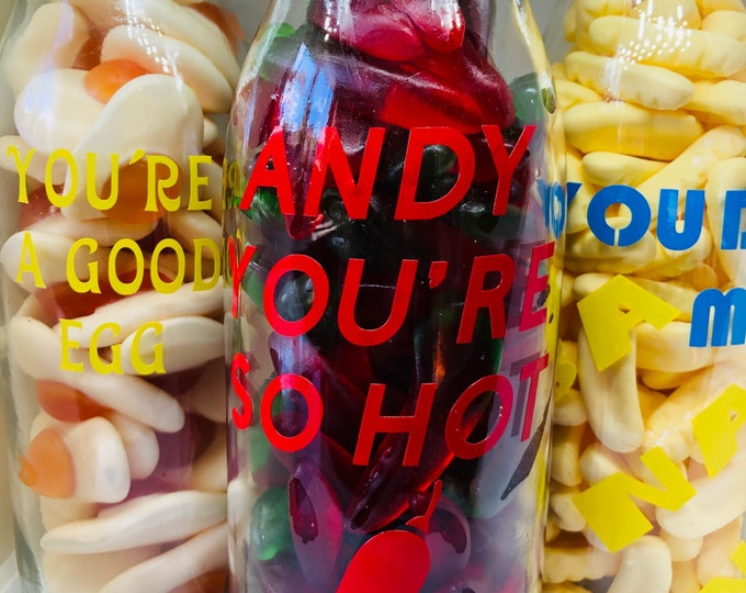 Personalised sweet message bottle - Goodie jars - Glass bottle - vinyl message. Fried eggs, gummy chilli sweets. Christmas Stocking filler