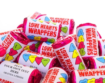 Personalised Sweets, Mini love heart rolls - Just married - Sweet wedding favours - Love is sweet - Corporate sweets - Hen party gifts