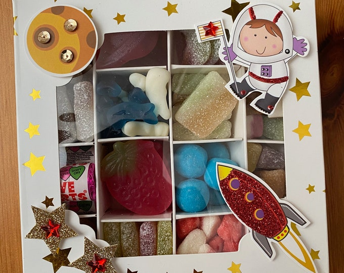 Outer space, Rockets decorative filled sweet box. Pick n Mix sweet gift Box. Gift for Boys, Child. Space Themed Present. Astronaut Man.