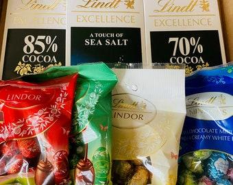 Lindt Chocolate Variety Box. 4 Lindt Bars and 4 Lindt Chocolate Balls. Milk, White and Dark Chocolate Gift Box. Hazelnut Chocolate