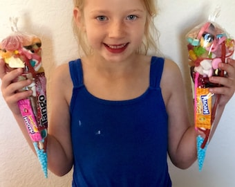 5, 6 or 8 Pre filled Pick N Mix Sweet Cones 200g each - Sweet party bags - Happy birthday children gifts - Party sweets - Goodie bags.
