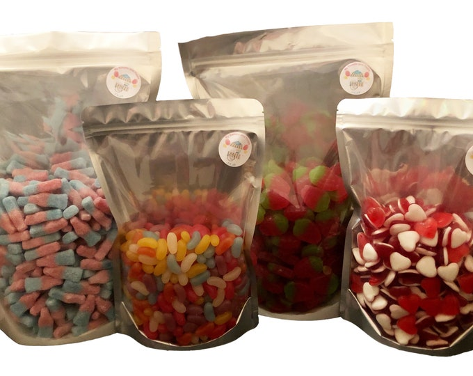 Bon Bons Bulk Buy, Blue Raspberry, Watermelon, Caramel Toffee, Bubblegum, Lemon, Rhubarb and custard, Cherry. Sweets by the bag.