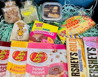 Gourmet Sweet Hamper. Gift Set. Chocolate and Fudge Gift Set. Jelly Beans, Handmade Creme Egg Fudge. Alcohol Sweets. Gin Jellies Rum Jellies