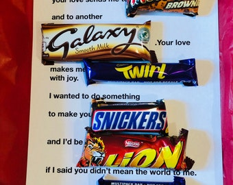 Personalised Valentines Chocolate Candy Bar Love Letter, Poetry Gift Card with Red Vinyl Text. Handmade. Optional 3D pop up Greetings Card