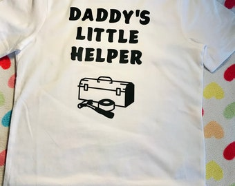 Personalised kids tee shirts. Daddy's Little Helper. Children's t-shirt. Daddy's Princess. Daddy fathers day gift. Cute Girl Printed t-shirt