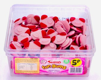 Pink Pig Sweets, Cute Pig Faces, Jelly sweets, Fruit flavour foam & jelly gums. Children's Sweets. Pick N Mix. Sweet Mix. Sweet Tubs.