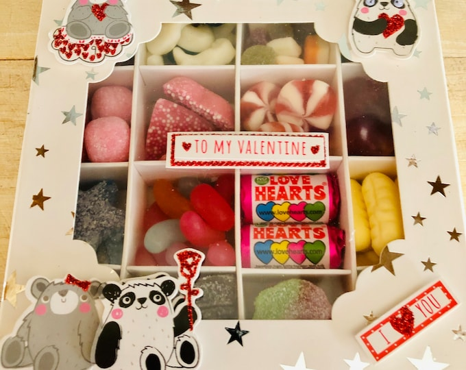 I Love You Sweet Gift Box, Chocolates. Panda gift, Love hearts, Kisses, Retro and classic sweets mix. Happy valentine's day.