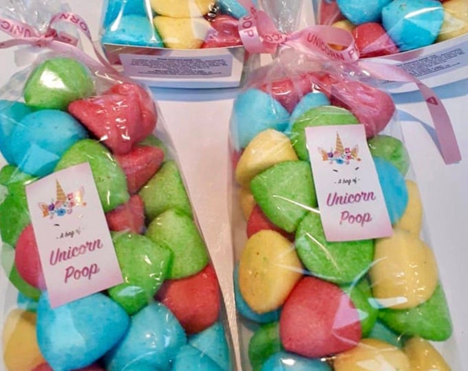 Unicorn poop gift bags, Frosted Marshmallows, Happy birthday. Gifts for kids. Giant multi-coloured marshmallow unicorn poops.