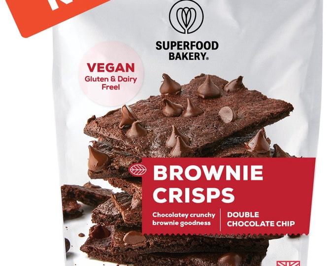 Superfood Bakery Brownie Crisps Choc Chip, Crunchy and Rich Brownie Crisps Topped with Double Chocolate. Vegan, Gluten Free, Organic Treats