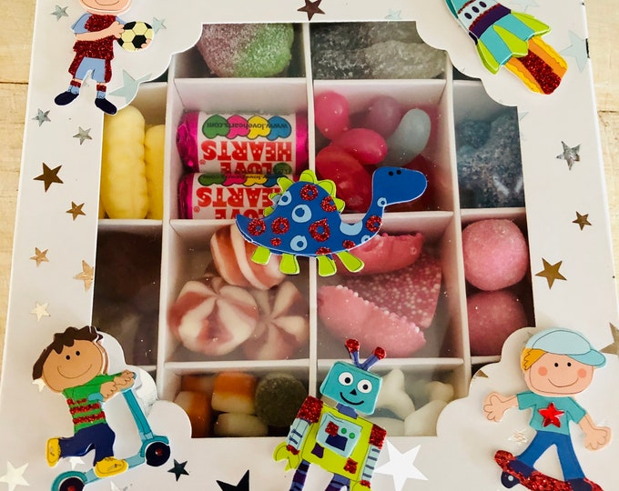 Birthday Boy Pick N Mix Sweet Gift Box,  Happy Birthday sweets, Unicorns and Rainbows, Valentines Day, Happy Easter Sweet Box.